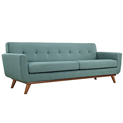 Modway Engage Mid-Century Modern Upholstered Fabric Sofa In Laguna