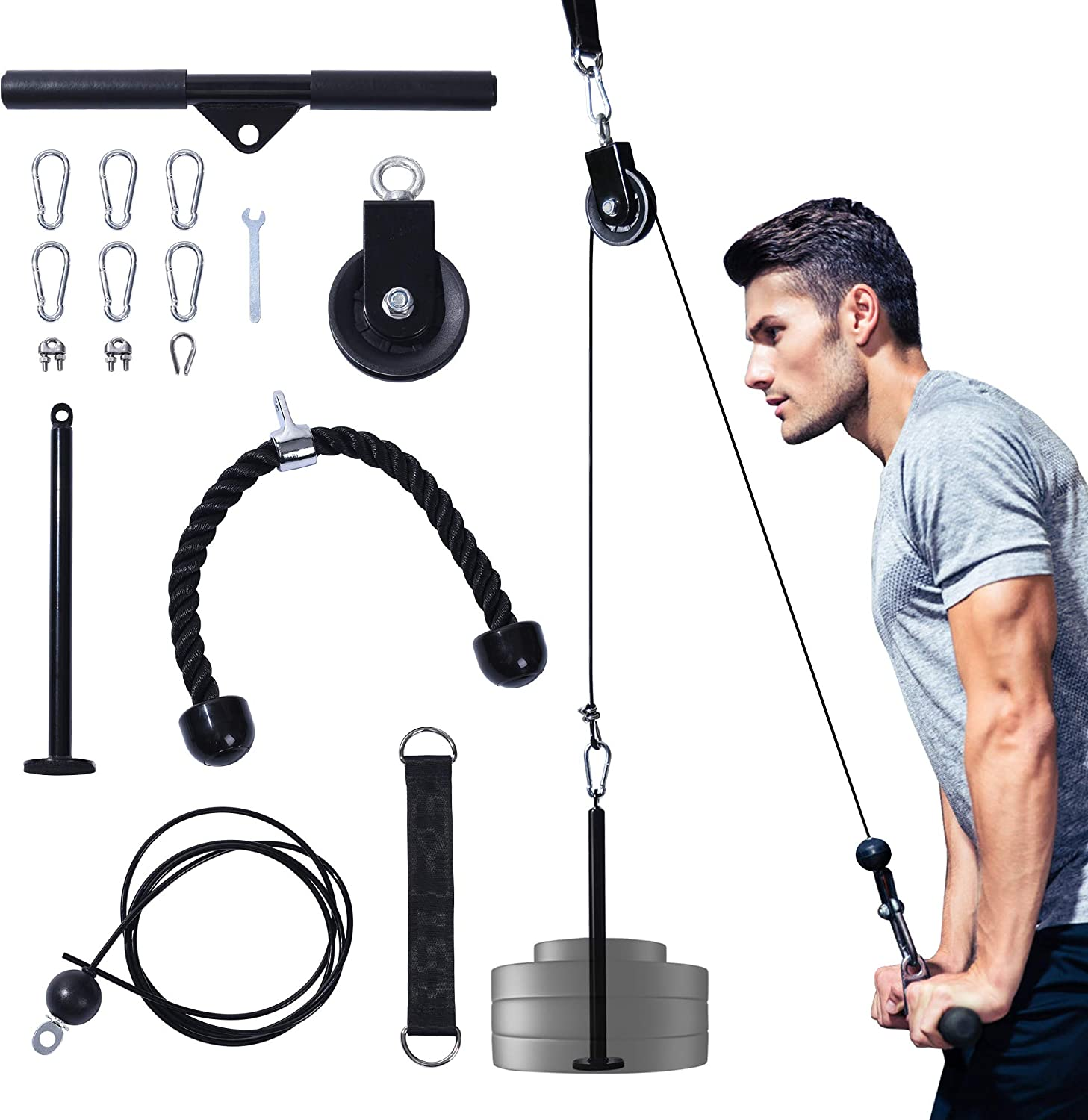 Upgraded LAT Pulldown Cable Pulley Attachments System Gym Equipment,Adjustable Pull Down Machine for Professiona Exercise Biceps Curl,Back,Forearm, Shoulder - Exercise Equipment for Home Workouts