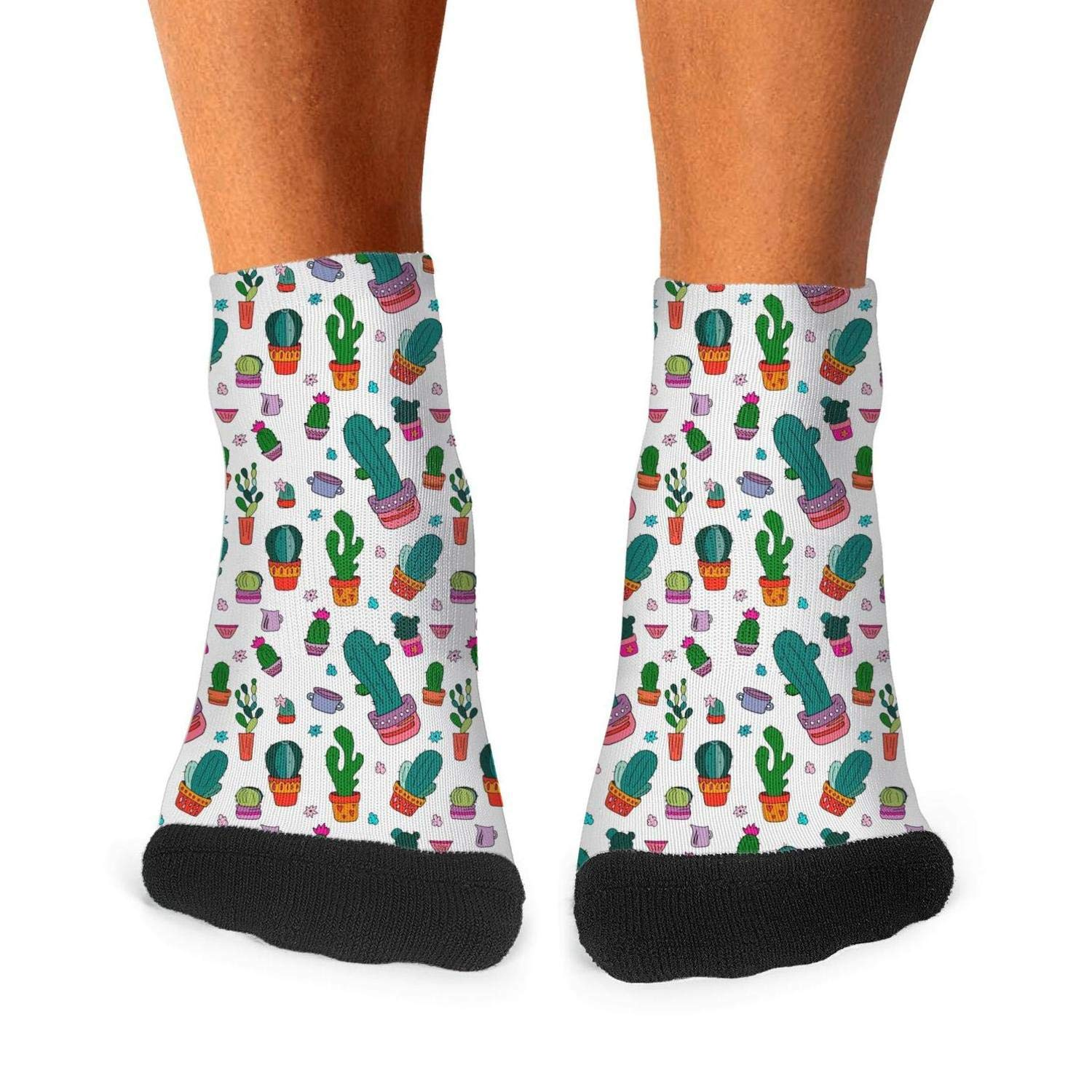 Mens athletic low cut Ankle sock Amusing Cactus Succulent Plants Short Sports Sock