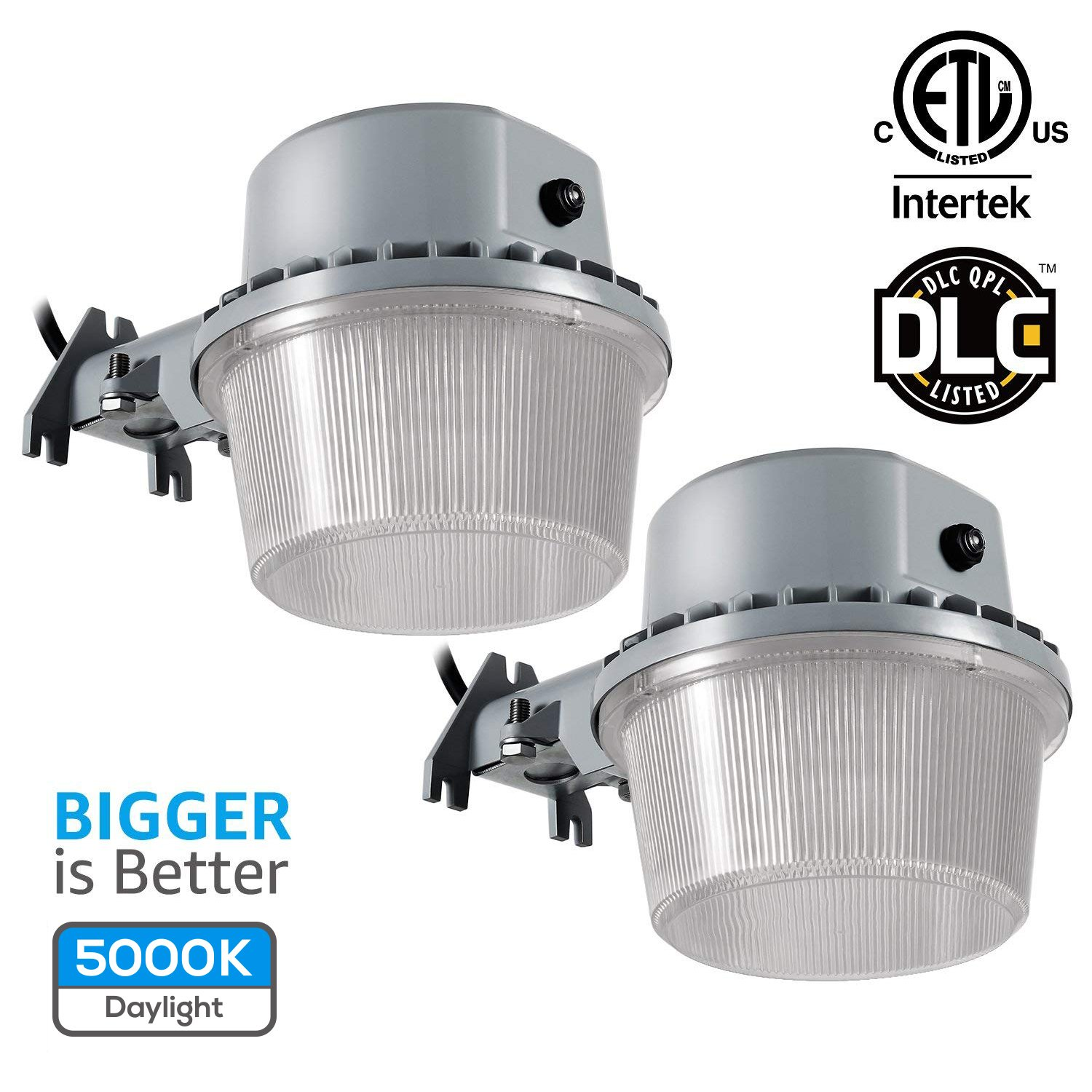 TORCHSTAR Dusk-to-Dawn LED Outdoor Barn Light (Photocell Included), 35W (250W Equiv.), 3500lm 5000K Floodlight, DLC & ETL-Listed Yard Light for Area Lighting, 5-Year Warranty, Silver, Pack of 2