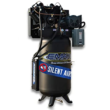 Amazon.com: 10 HP Quiet Air Compressor, 1 PH, 2-Stage, 80-Gallon, Vertical, Industrial Series, Model ES10V080V1 by EMAX Compressor: Home Improvement