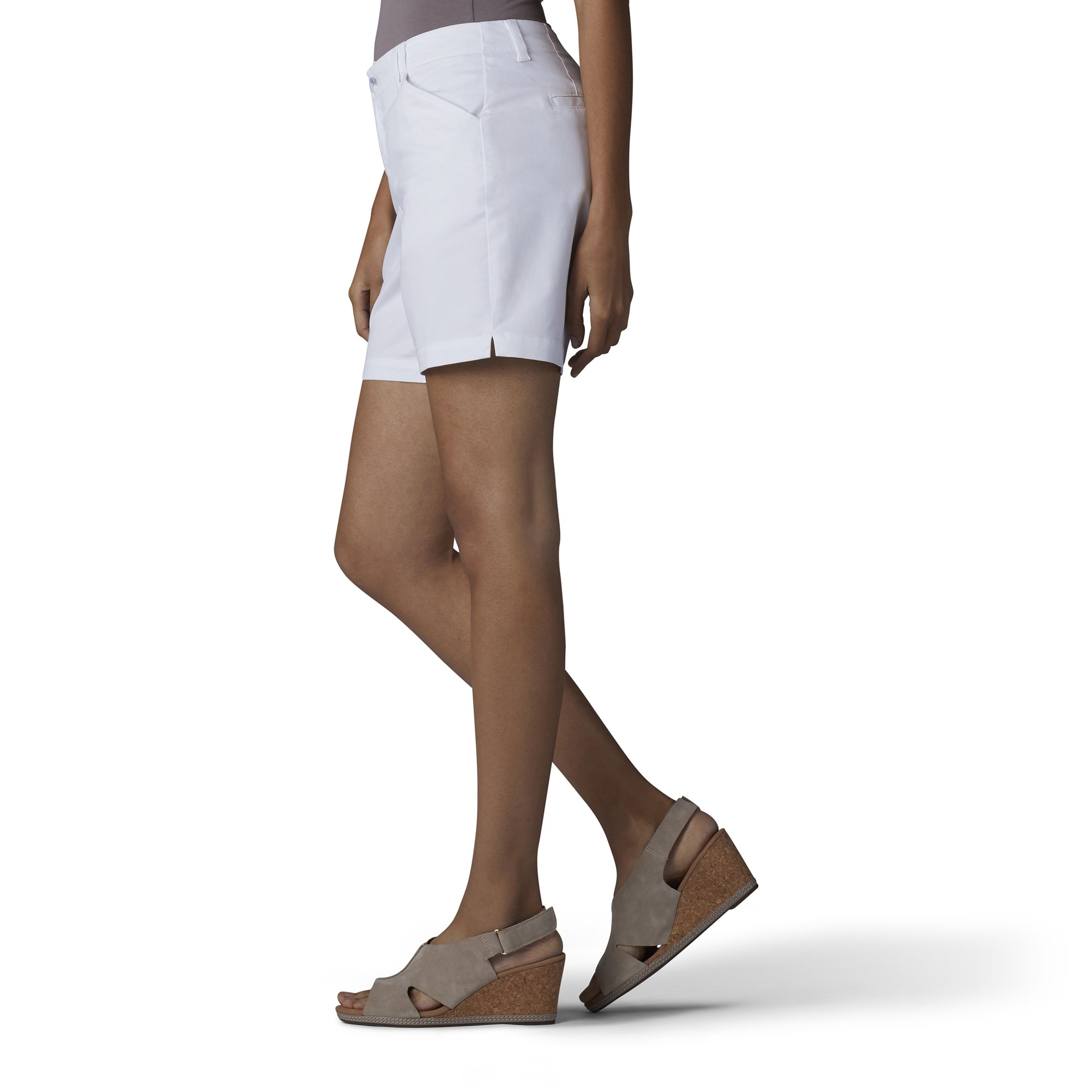 LEE Women's Straight Fit Tailored Chino Short, White, 12 by LEE (Image #3)