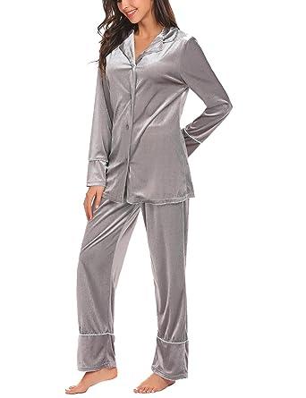 91e202d4b7 Aimado Womens Velvet Sleepwear Long Sleeve Robe Tops and Long Pants Set  (Gray