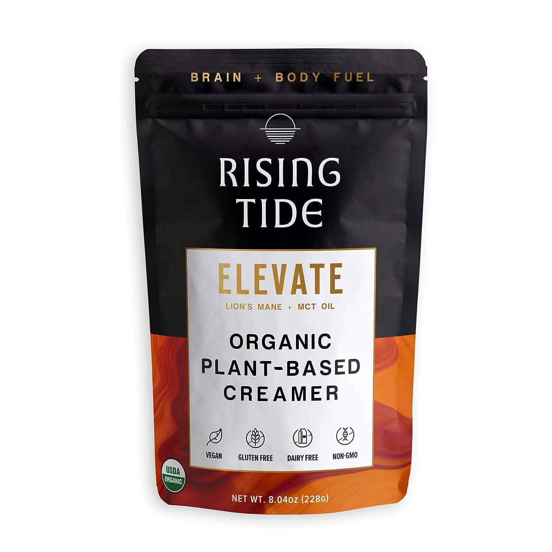 Rising Tide Elevate Vegan Creamer, Organic Powdered Coffee Creamer with Lions Mane Mushroom & MCT Oil, Superfood Creamer, Non Dairy, Keto & Paleo Friendly, Original, 8.04 oz, 38 servings
