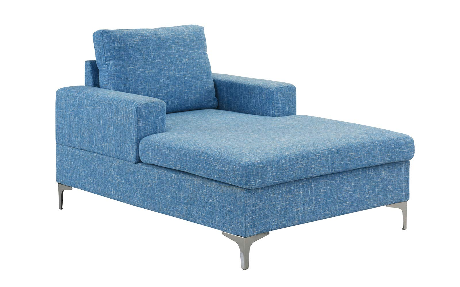 Casa Andrea Milano Modern Chaise Lounge, Mid Century Linen Fabric Chaise (Light Blue) by Casa Andrea Milano