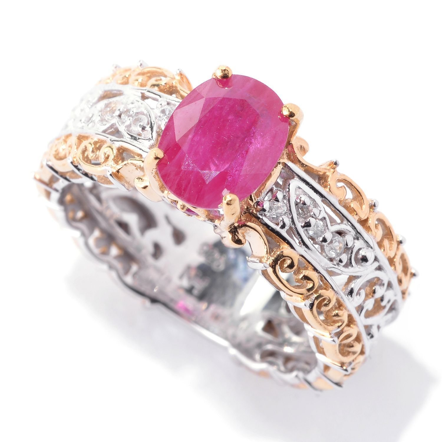 Amazon.com: Michael Valitutti Palladium Silver Ruby & White Sapphire ...