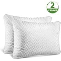 SORMAG Adjustable Shredded Memory Foam Pillows for Sleeping Standard Size, Bamboo Cooling Bed Pillows Neck Support for Back, Stomach, Side Sleepers-2pack