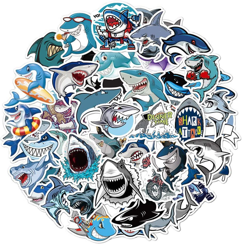 Ratgoo 50Pcs Cute Cartoon Trendy Graffiti Waterproof Vinyl Shark Stickers Decals Pack for Laptop Water Bottle Car Bumper Skateboard Luggage iPhone Laptop Bike Guitar Gift for Girls Kids Teens Boys