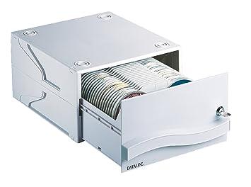 Esselte Cajón archivador para CDs con cerradura, Capacidad para 120 CDs o DVDs, 29,8 x 34 x 17,2 cm, Gris claro, 67228: Amazon.es: Oficina y papelería