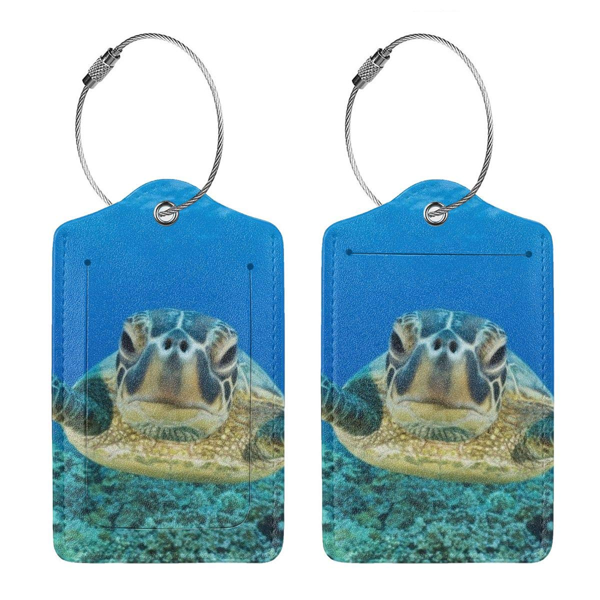 Sea Turtle Luggage Tag Label Travel Bag Label With Privacy Cover Luggage Tag Leather Personalized Suitcase Tag Travel Accessories 2
