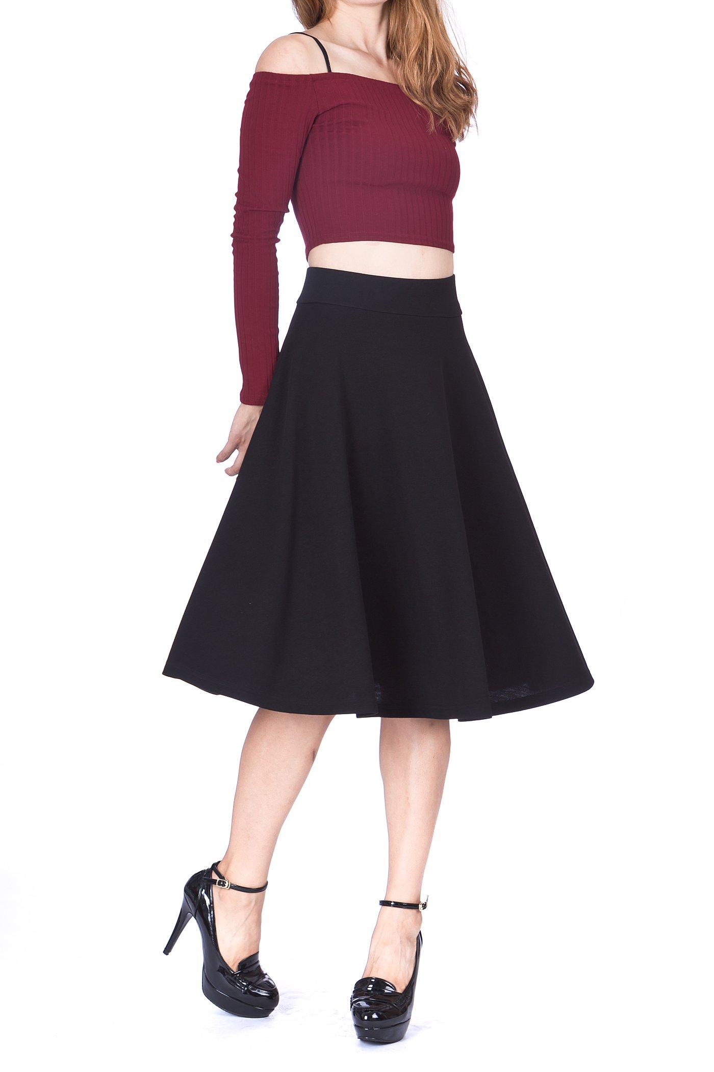Feel The Retro Mood Wide High Waist A-Line Full Flared Swing Skater Midi Skirt (S, Black)
