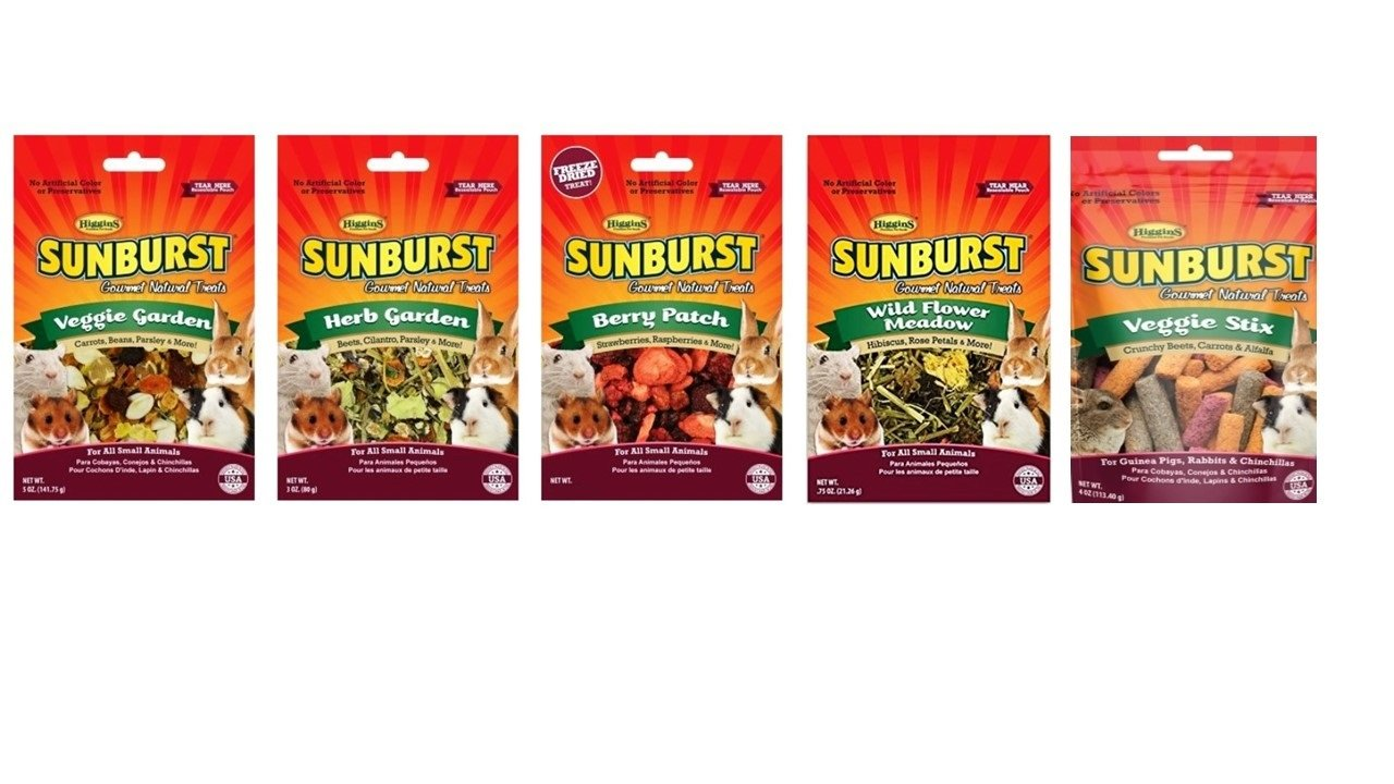 Higgins Sunburst Small Animal Treats 5 Flavor Variety Bundle (1) Each: Veggie Garden, Herb Garden, Berry Patch, Veggie Stix and Wild Flower Meadow.52-5 Ounces Each by Higgins