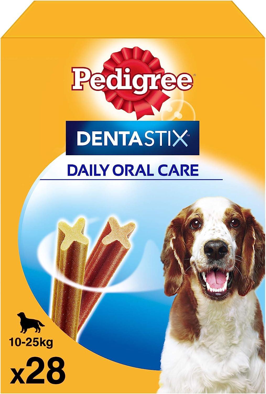 Pack de 28 Dentastix de uso diario para la limpieza dental de perros medianos (Pack de 4)