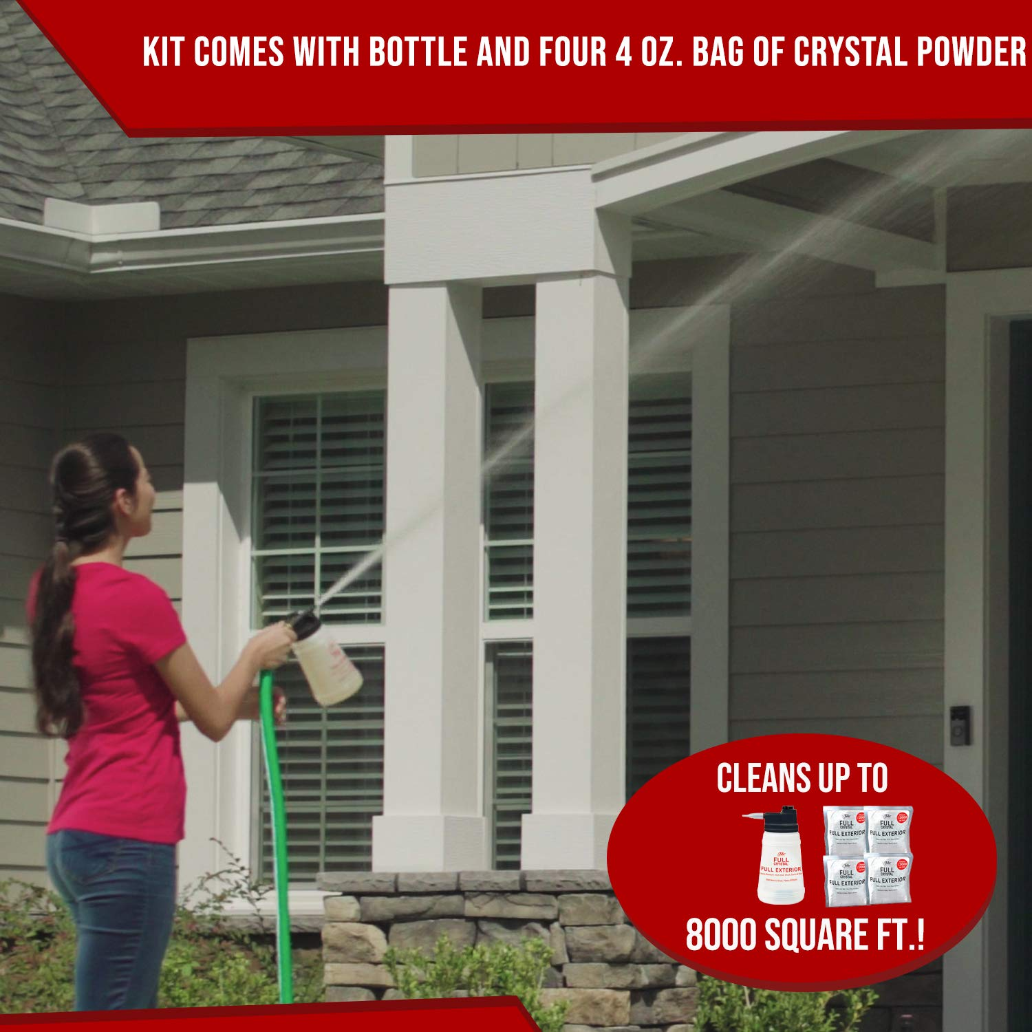 Full Exterior Kit - Bottle, Lid with Hose Attachment and 1 lb. Crystal Powder Outdoor Cleaner (Cleans Up to 8,000 Sq. Ft): Non-Toxic, No Scrub, No Rinse Cleaning Kit by Full Crystal (Image #2)