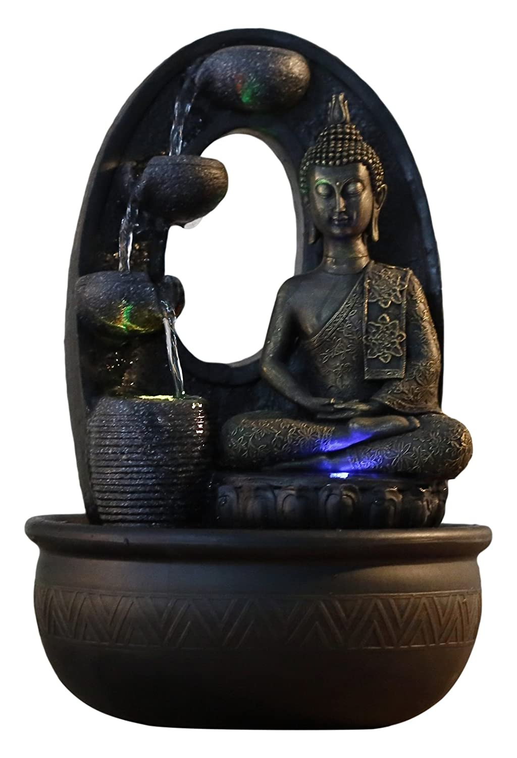 Zen Light, Harmonie - Fontana in poliresina, 26 x 16 x 40 cm, Colore: Nero Zen' Light