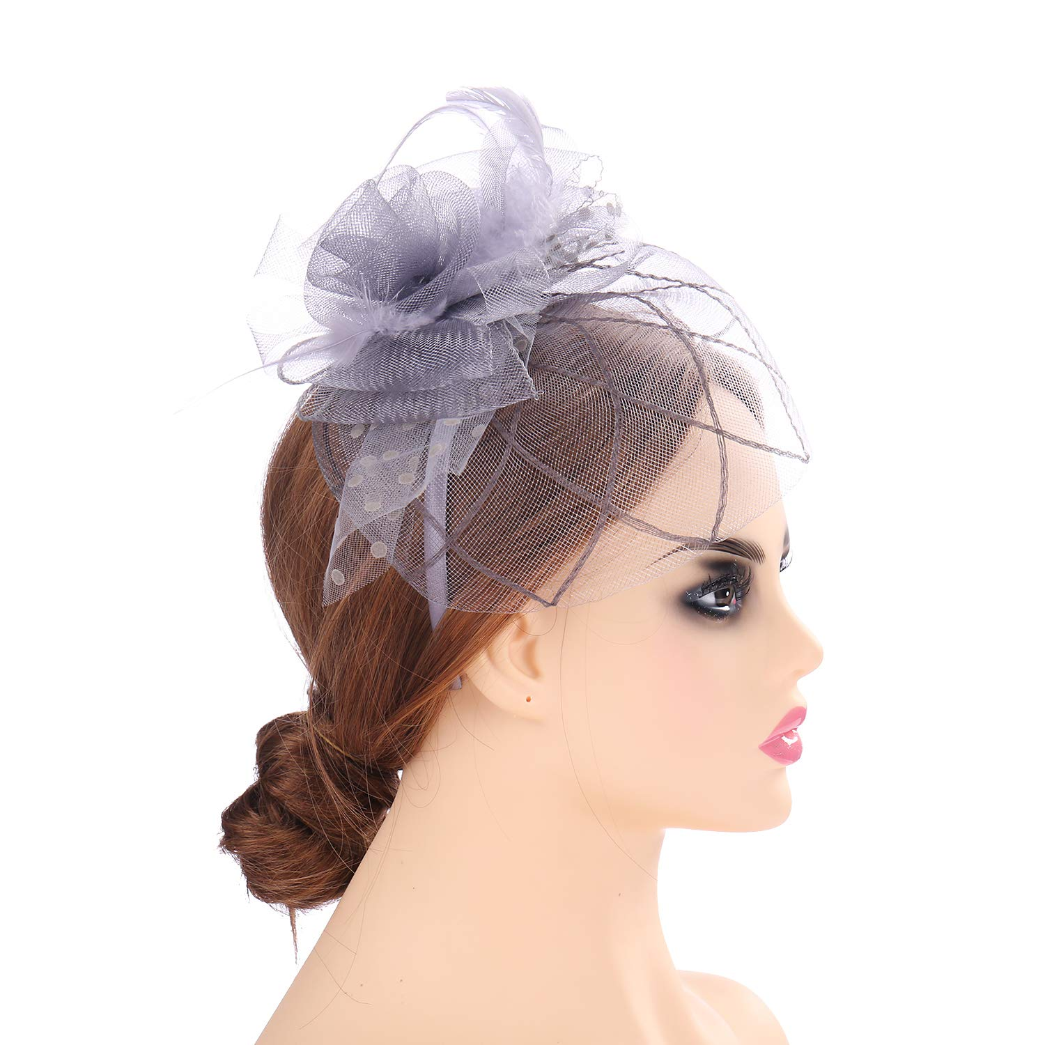 Mesh Fascinators for Grey Hats for Women Feather Hair Clip Cocktail Tea Party Derby Race Royal Ascot for Women (CC2)
