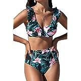 CUPSHE Women's High Waist Bikini Swimsuit Ruffle Floral Print Two Piece Bathing Suit