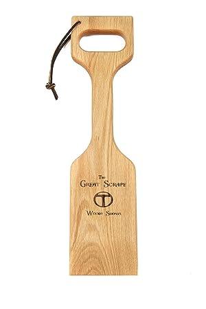 Barbacoa Grill scraper- madera limpiador de barbacoa para asar accesorios - 20 inch Woody pala: Amazon.es: Jardín