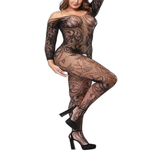 6e4e7e84b YueDie Large Flower Fisnet Bodystocking Crotchless Bodysuit with Sleeves  3-Colors (Black)