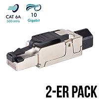 2 Stück Netzwerkstecker RJ45 CAT 6A geschirmt werkzeuglos Steckverbinder LAN Kabel Stecker CAT 7 Patchkabel Netzwerkkabel Toolless Modular Plug