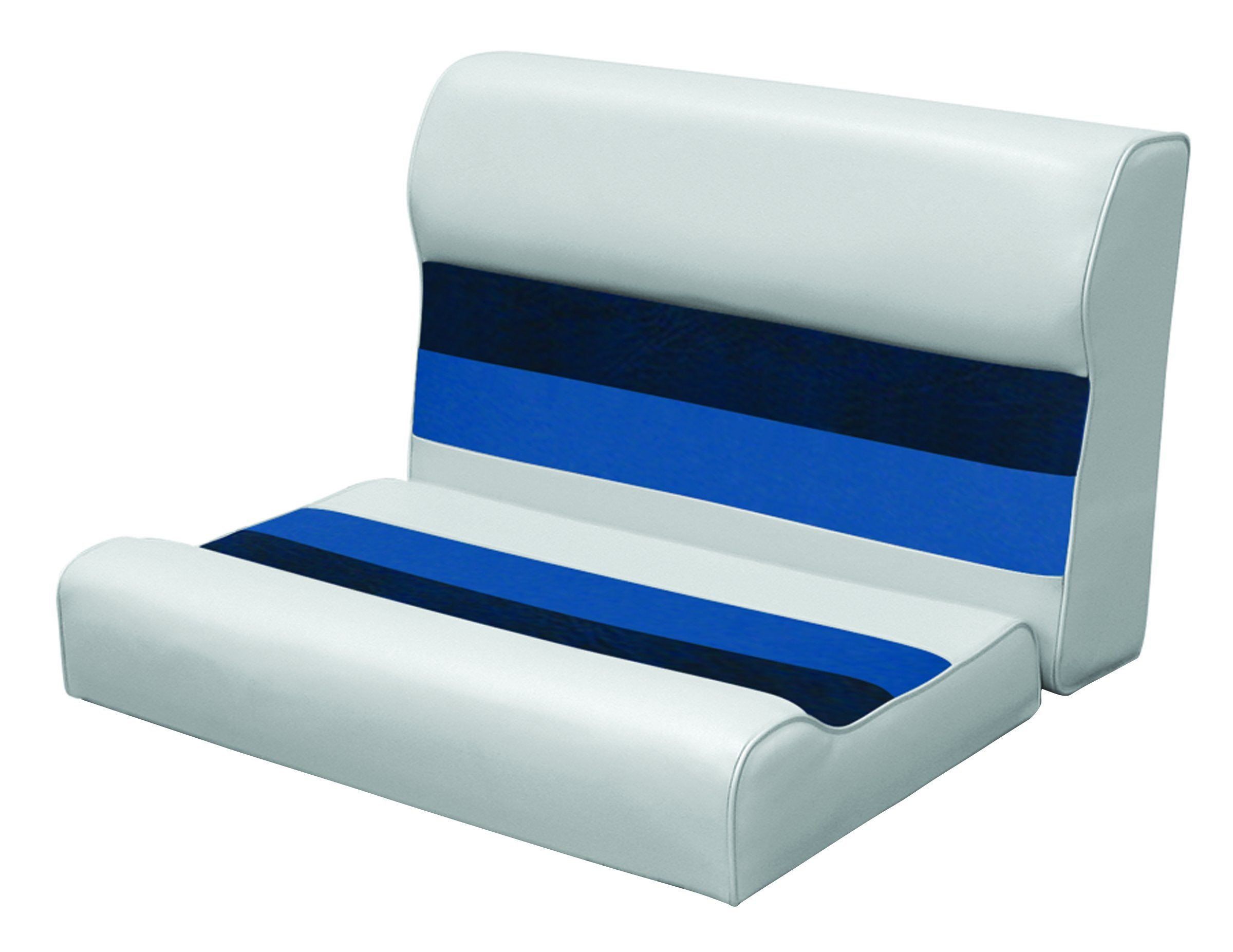 Wise 8WD95-1011 28'' Pontoon Bench Seat Cushion Only, Gray-Navy-Blue; Requires #8WD95-1B-221 Base to Complete