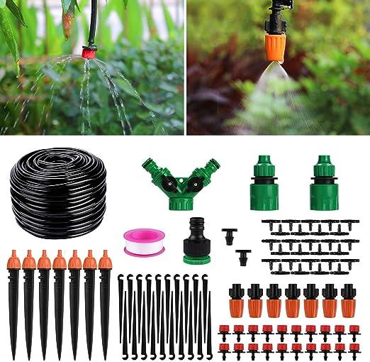 Aiglam Sistema de riego de jardín, Micro Kit de riego por Goteo Riego automático Rociadores automáticos