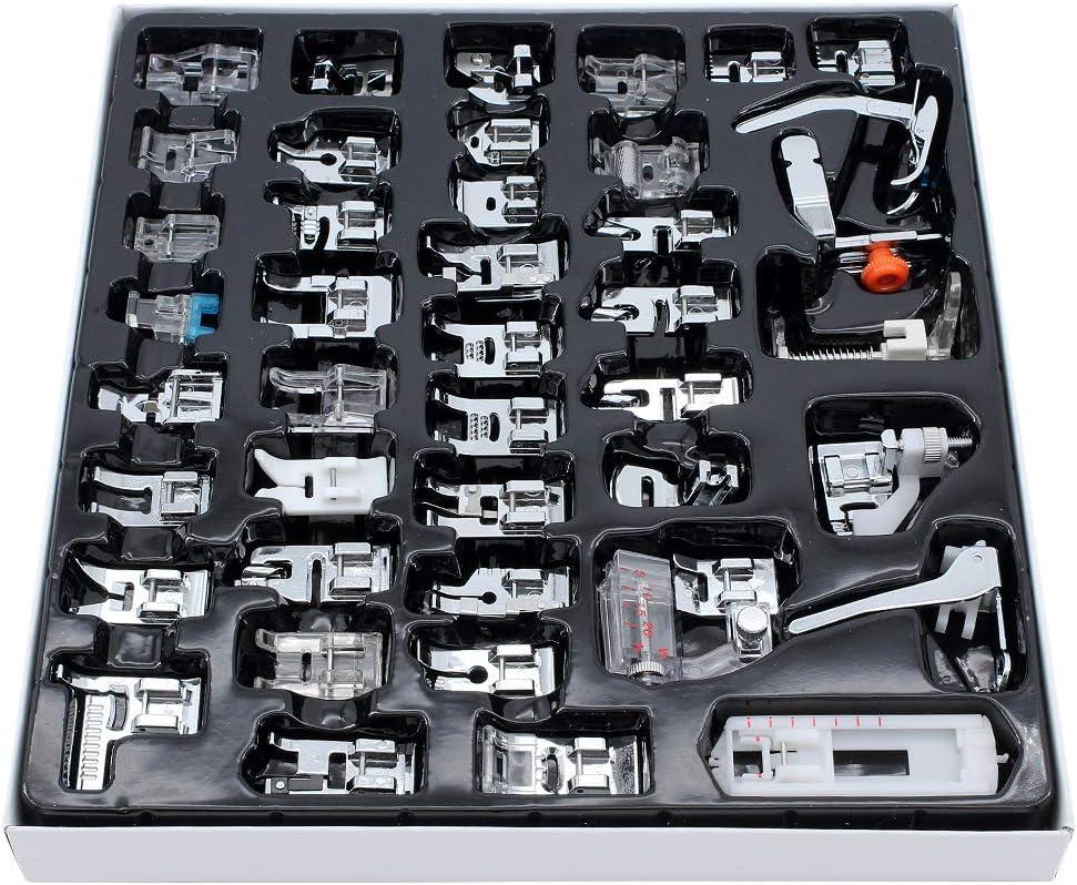 ShawFly 42 PCS M/áquina de coser Prensatelas Juego de pies M/áquina de coser dom/éstica Multifunci/ón Prensatelas de costura Regalos adecuados para la mayor/ía de los modelos de m/áquinas de coser