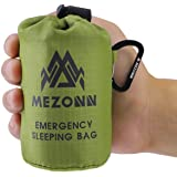 Mezonn PE Emergency Sleeping Bag Survival Bivy Sack- Use as Emergency Space Blanket, Lightweight Sleeping Bag, Survival Gear for Outdoor, Hiking, Camping - Includes Nylon Sack with Carabiner