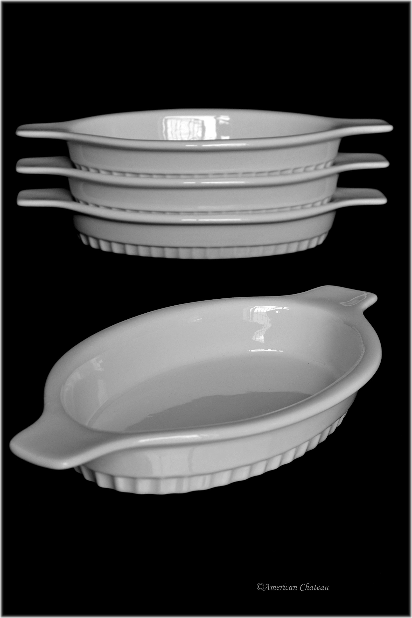 Set 4 Large 10.5'' Freezer-to-Oven White Porcelain Appetizer Au Gratin Dishes