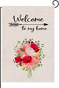 Spring Flowers Welcome Garden Flag, Welcome Yard Small Burlap Garden Flag Double Sided, Spring and Summer Welcome Outdoor Decor Sign,Garde Flags 12x18.5 Prime (Welcome Roses Flowers)
