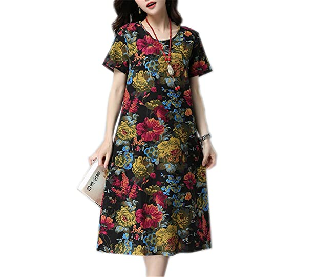 FDFAF Fashion cotton linen vintage print women casual loose summer dress vestidos femininos dresses Black M