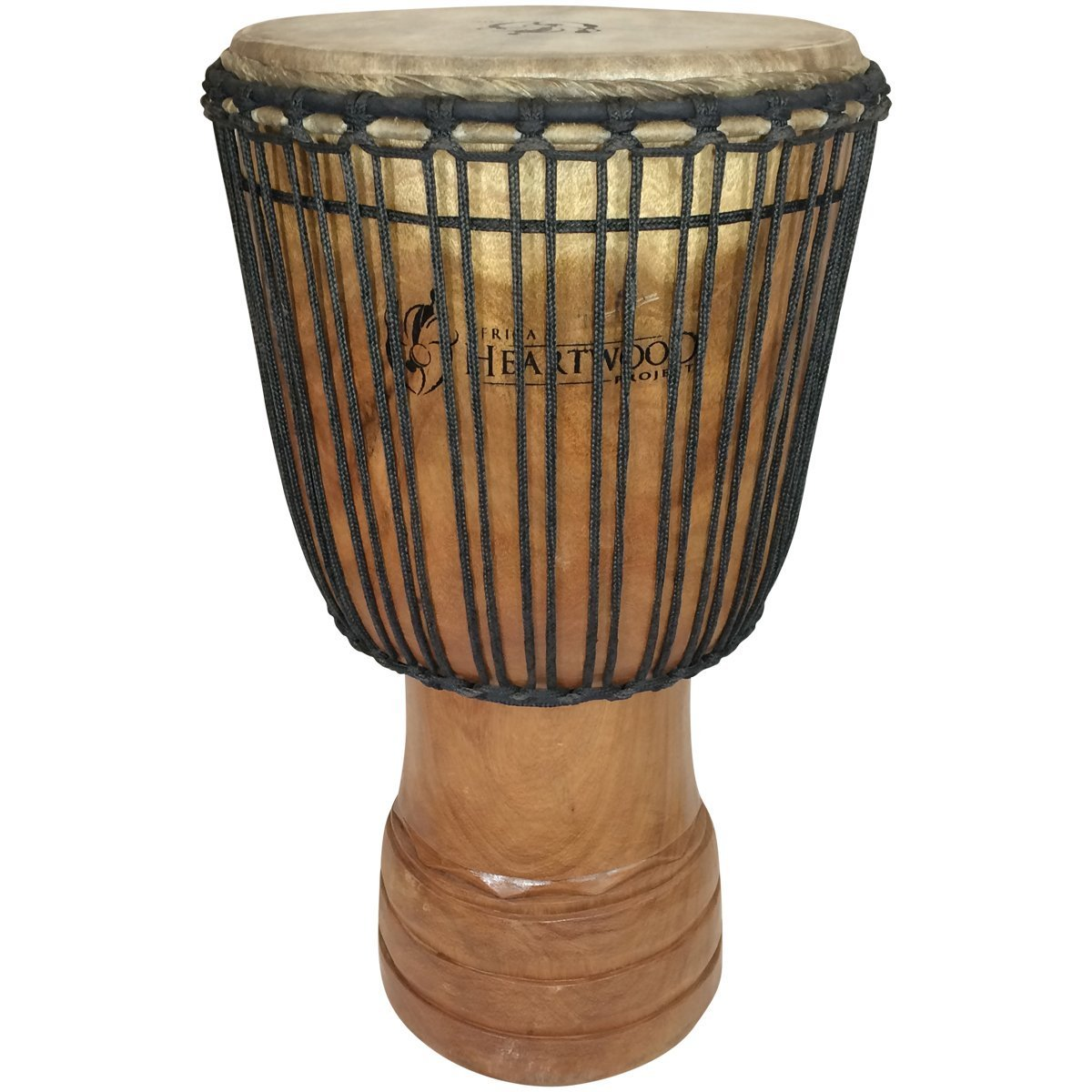 Hand-carved Djembe Drum From Africa - 14''x25'' Oversize with Big Bass (Rings Carving) by Africa Heartwood Project