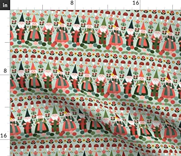 Knitting Gnomes Gnome Stripe Craft Linen Cotton Tea Towels by Roostery Set of 2