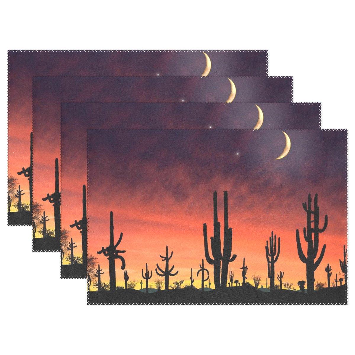 baihuishop Desert Sunset Cactus Moon and Star 12 x 18