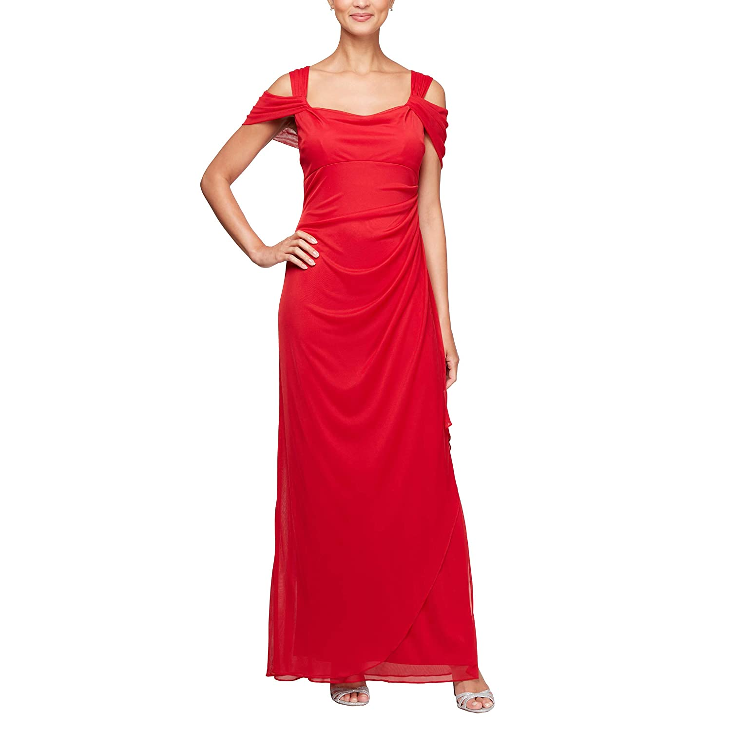 Bright Red Alex Evenings Women's ColdShoulder Dress (Petite and Regular)