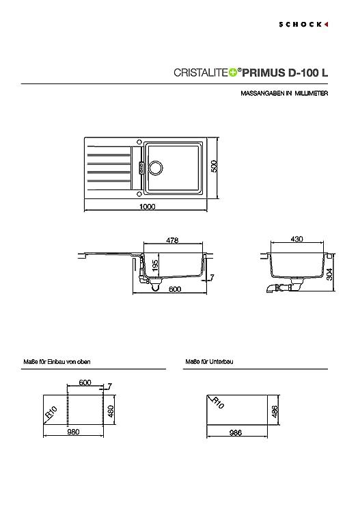 Schock Küchenspüle Primus D-100L, Auflage in Nero: Amazon.de: Baumarkt