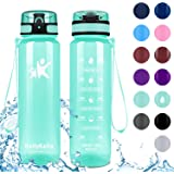 KollyKolla Sports Water Bottles 32oz,27oz,17oz,12oz,Reusable Plastic Water Bottle with Time Marker and Filter, BPA Free Trita