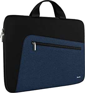Laptop Sleeve 15.6 Inch,Slim Durable Notebook Computer Protection Case Business Briefcase Handle Bag Compatible with 14 15 15.6 inch MacBook Pro HP Dell Acer Asus Chromebook Computer (Black/Blue)