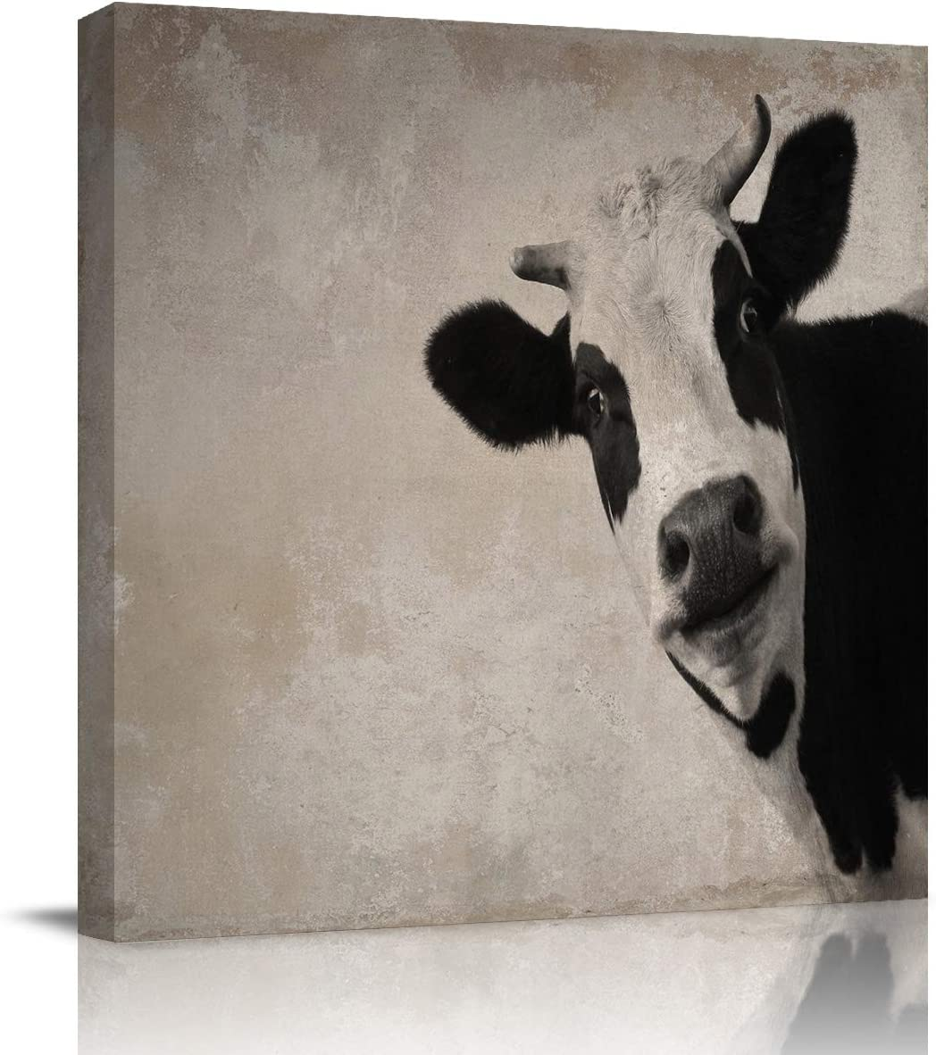 Canvas Painting Wall Decor-Rustic Vintage Farm Cow Black White,Wall Art Print Paintings for Home/Living Room/Bedroom Decor Single Panel 12x12Inches