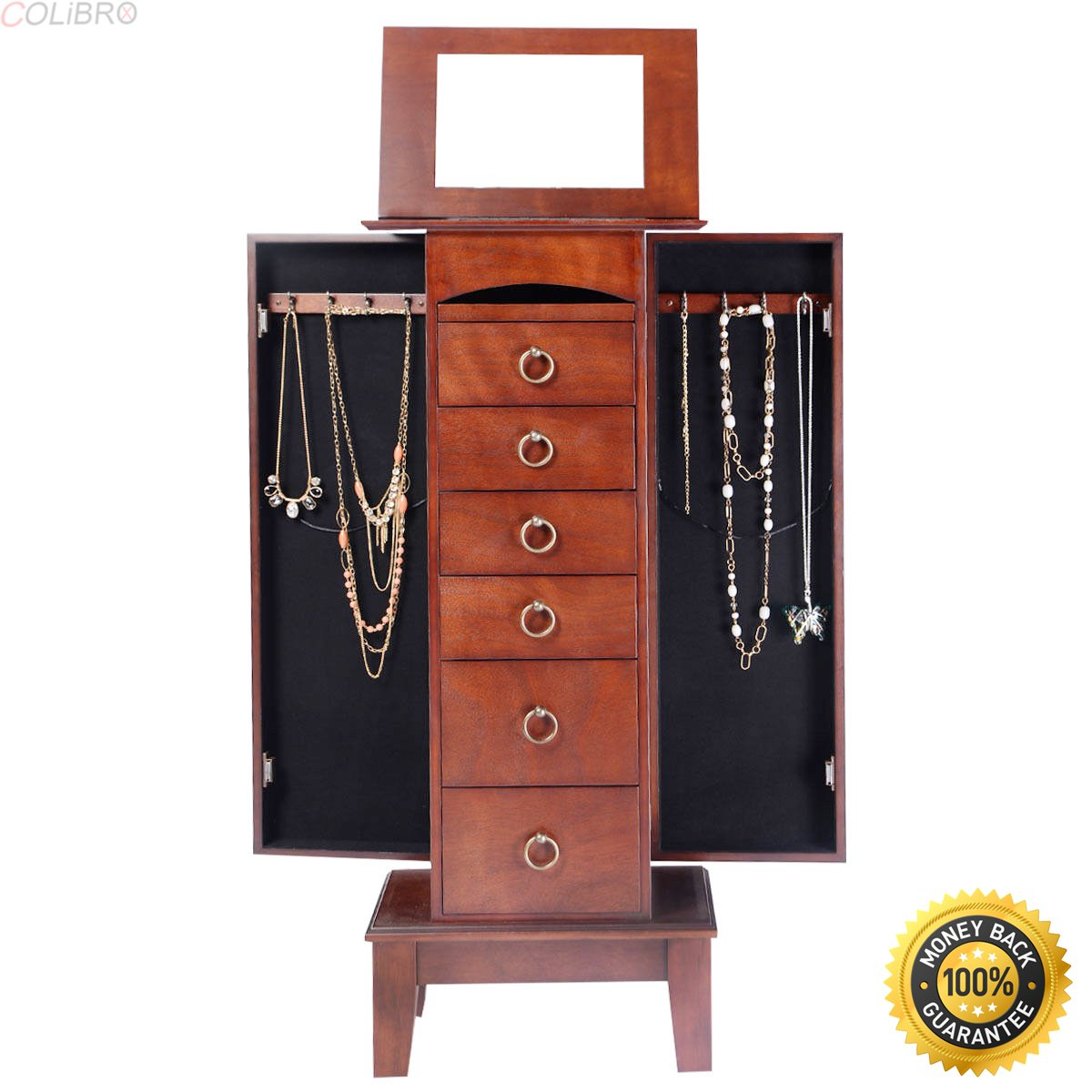 COLIBROX--Wood Jewelry Cabinet Armoire Storage Box Chest Stand Organizer Christmas Gift,jewelry box for necklaces,jewelry gift box,target jewelry gift box,jewellery box kmart