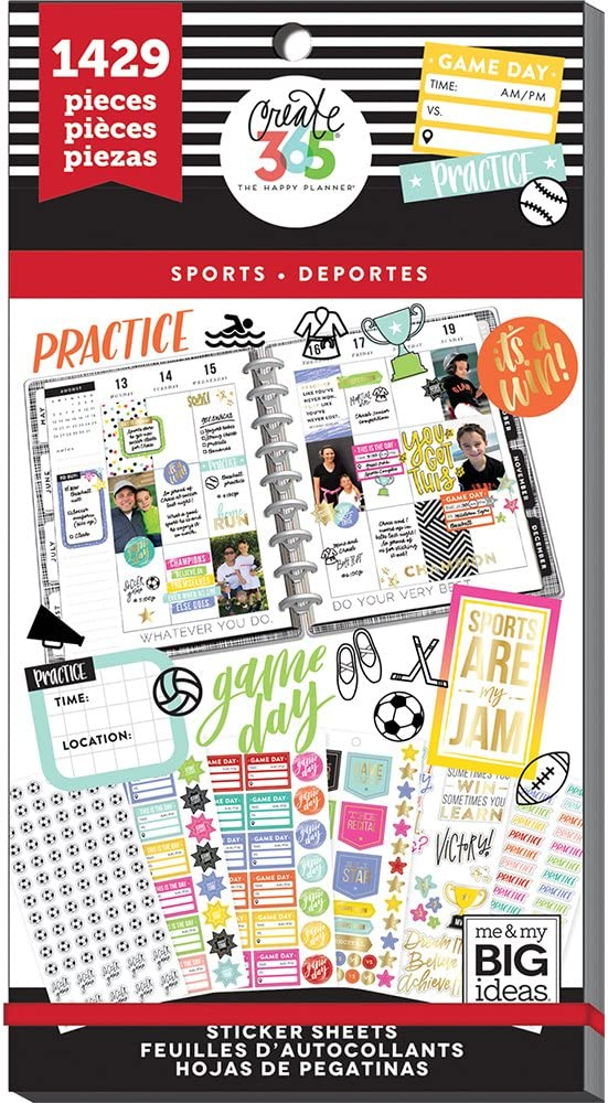 me & my BIG ideas Sticker Value Pack for Classic Planner - The Happy Planner Scrapbooking Supplies - Sports Theme - Multi-Color & Gold Foil - Great for Projects & Albums - 30 Sheets, 1429 Stickers