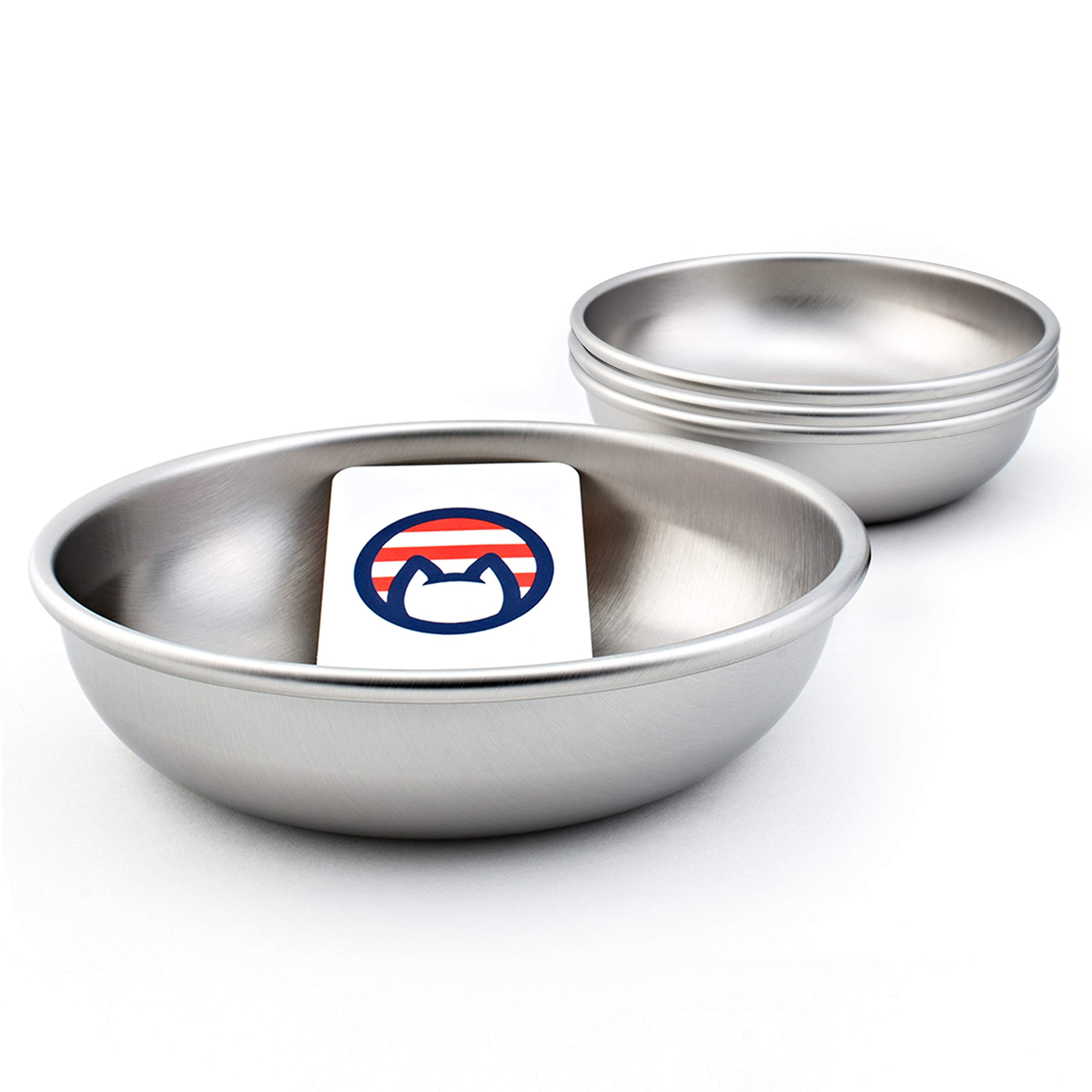 Americat Company Set of 4 Stainless Steel Cat Bowls - Made in The USA - Designed to Prevent Whisker Fatigue - Cat Food and Water Dishes (Set of 4) by Americat Company