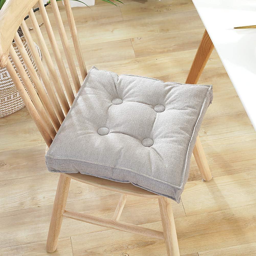 ZPEE Square Chair Cushion Seat Pad,Thicken Tufted Chair Cushion with Zipper,Detachable Tatami Floor Cushion,Soft for Home Office Dorm Gray 40x40cm(16x16inch)