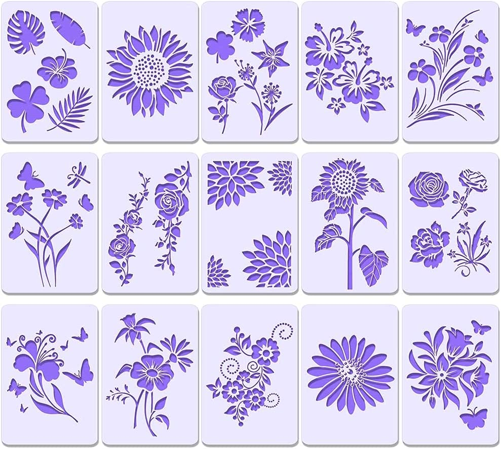 15pcs Plant Flower Stencil for Painting Reusable|Sunflower Stencil| Spring Summer Stencil|Rose Stencil|Butterfly Stencil, AHYS Home Stencils for Painting on Wood & Wall (7x10.2 inch)