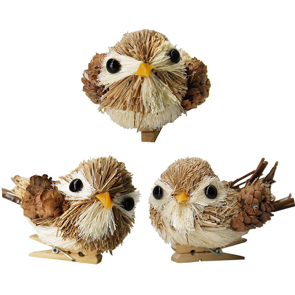 JHYQ-US Lifelike Birds Ornaments for Christmas Tree Decor with Wood Clips (Grey,Pack of 3)