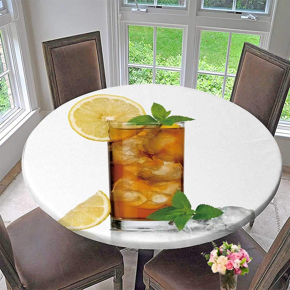 """Chateau Easy-Care Cloth Tablecloth c ice Tea with Lemon for Home, Party, Wedding 55""""-59"""" Round (Elastic Edge)"""