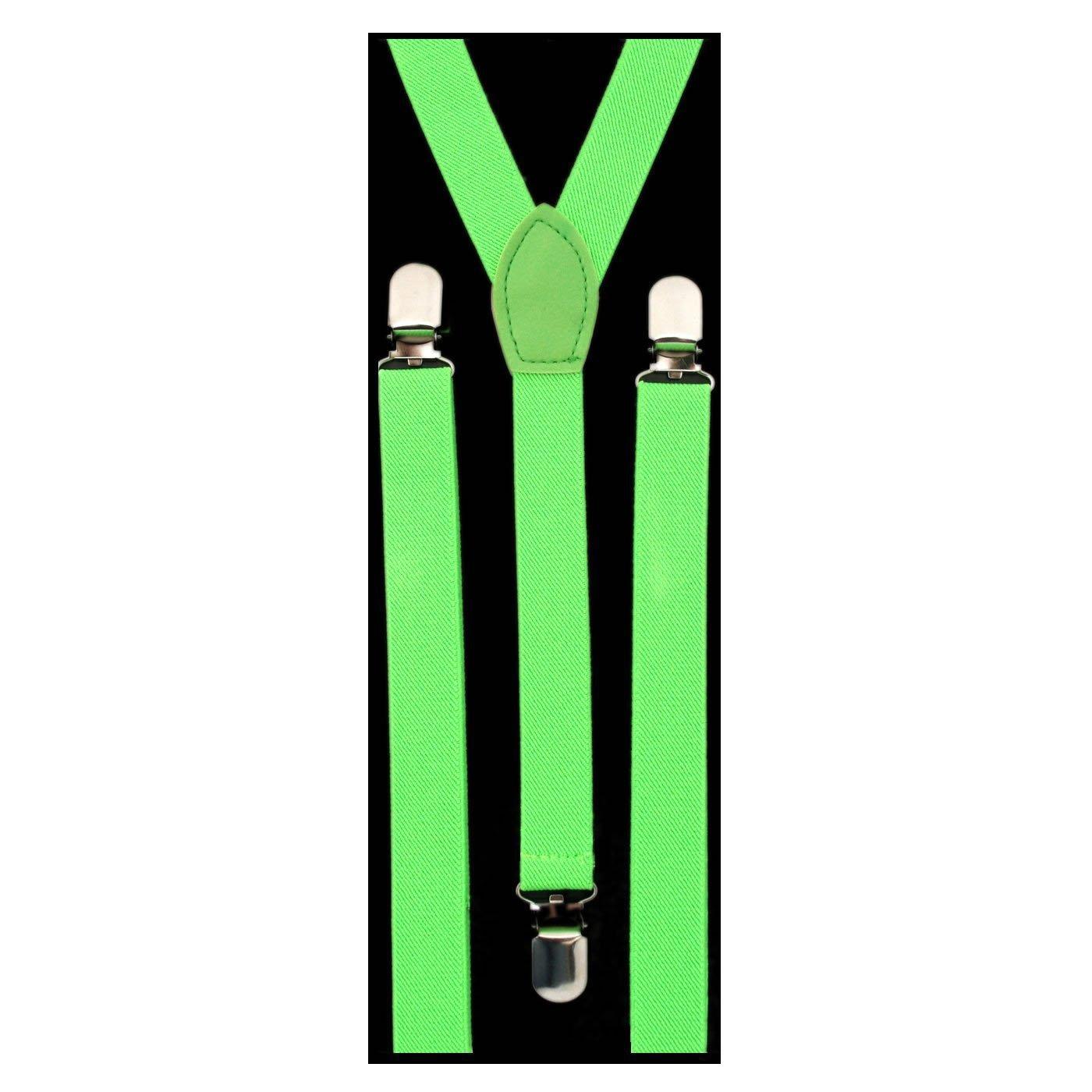 Pair of Neon Skinny Braces (Suspenders) Unisex Adjustable - Green