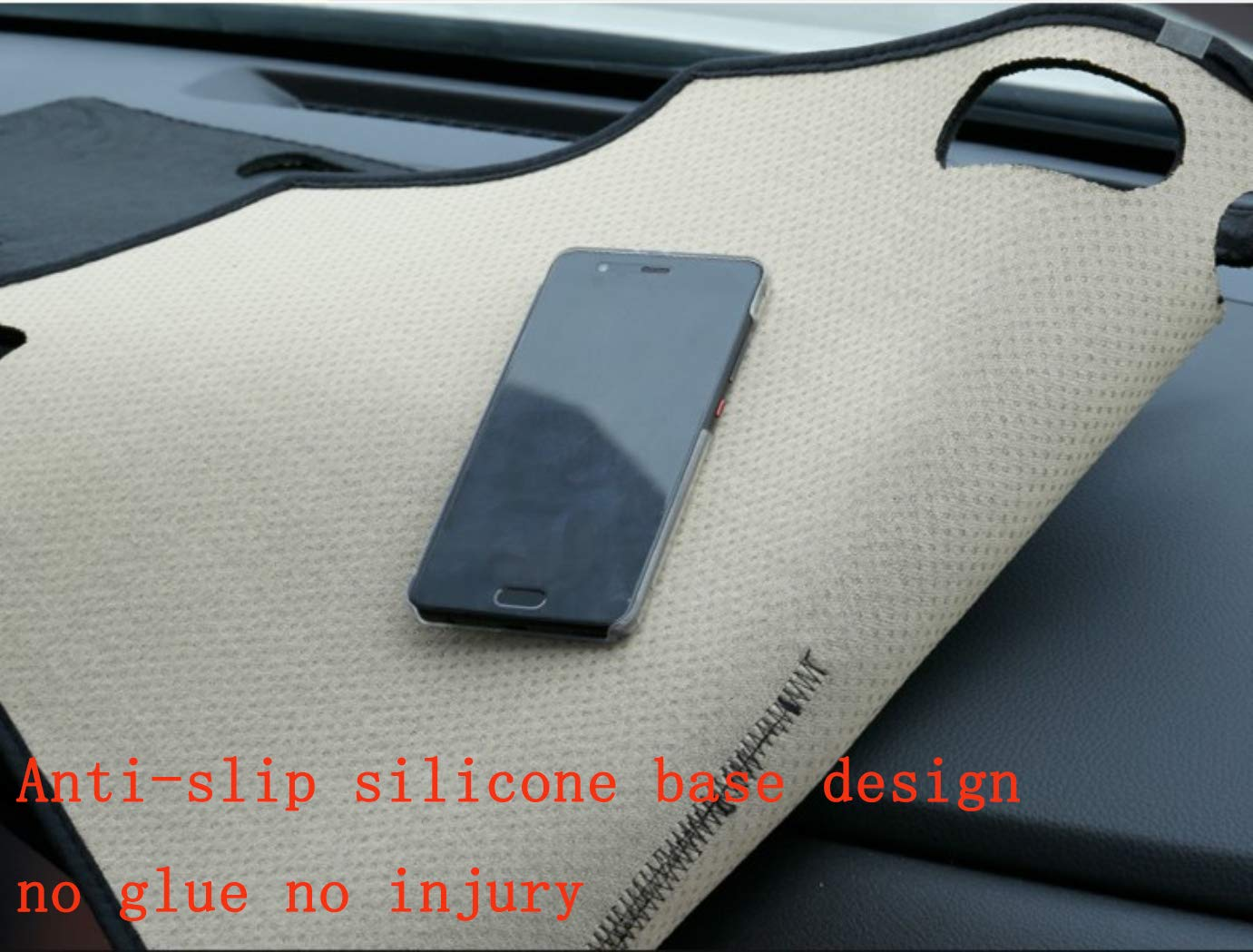 Oneuda Flannel Dashmat Dashboard Cover Dash Pad Car Mat Carpet Sun Shade for Hyundai Accent Verna 2012 2013 2014 2015 2016 2017 Solaris/ Anti-Slip Dash Board Cover Auto Accessories
