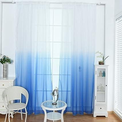 Amazon.com: WUBODTI Blue Ombre Sheer Voile Room Door Window Curtain ...