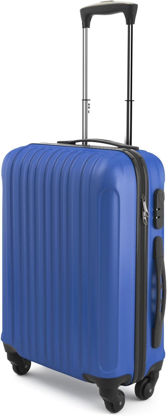 Eglemtek ABS Maleta Equipaje de mano cabina rígida ligera con 4 ruedas, 55cm ,trolley cáscara dura color azul
